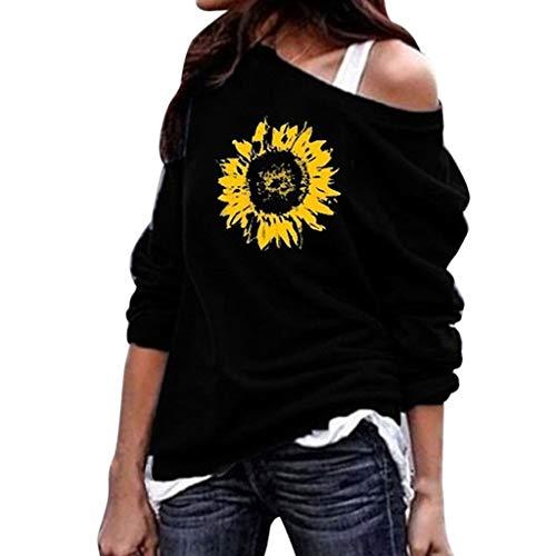 OHQ Damen Casual Sternchen Sonnenblume Drucken One-Shoulder T-Shirt Langarm Rundhals Oversize Pullover Halloween Tops (Halloween 2019 La Datum)
