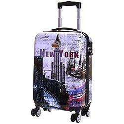 Karabar Bagage Cabine à Main Valise Rigide Léger 55 cm 2,5 kg 35 Litre 4 roulettes TSA Serrure, Falla New York
