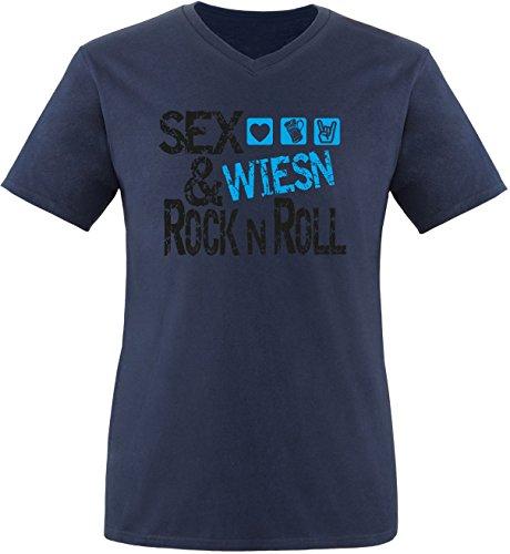 Luckja Sex Wiesn & Rock n Roll Herren V-Neck T-Shirt Navy/Schwarz