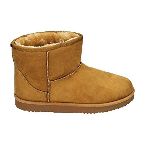 Damen Stiefeletten Schnee Stiefel Boots Flache Schlupfstiefel Warm Gefüttert Winter Schuhe 783 Camel 81