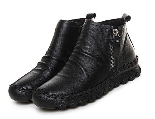 le donne a mano stivali stivali piatti scarpe casual autunno e della primavera delle donne femminili stivali fondo pesante singolare femminile rotonda Black
