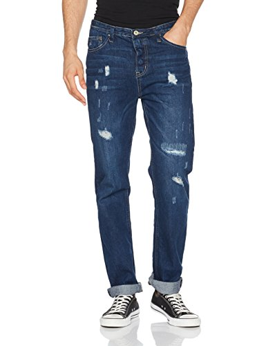 Springfield Denim Regular Lavado Oscuro con Rotos, Pantalones para Hombre, Azul (Blue), 38 (Tamaño del fabricante:38)