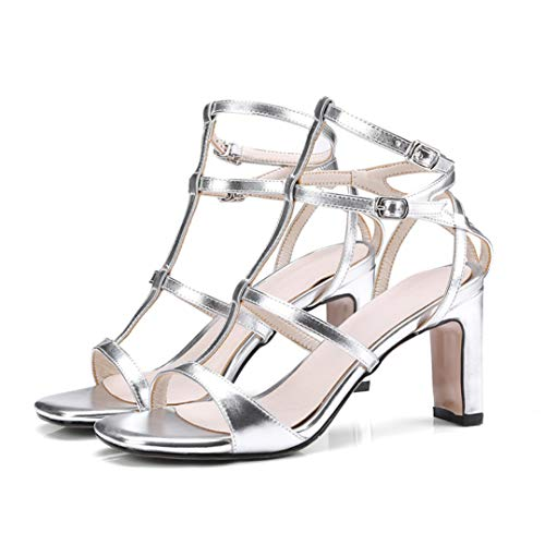 Chinese Laundry Open Toe Pumps (Damen Block-High Heels Roma Chunky Heels Strappy Open Toe Stiletto Lady Dress Party Pumps Schuhe, Silber - Silber - Größe: 43 EU)