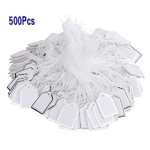 500pcs Étiquettes de Prix avec Cordes Suspendues Affichage de Vente de Bijoux Anneaux - Blanc et d