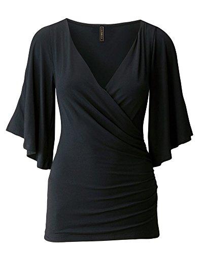 PengGeng Donna Collo V Spalla Fredda T Shirt Manica Lunga Magliette Body Camicie Nero