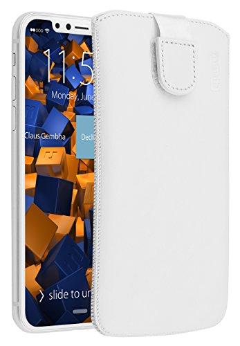 mumbi ECHT Ledertasche für iPhone X XS Tasche Leder Etui weiss (Lasche mit Rückzugfunktion Ausziehhilfe)