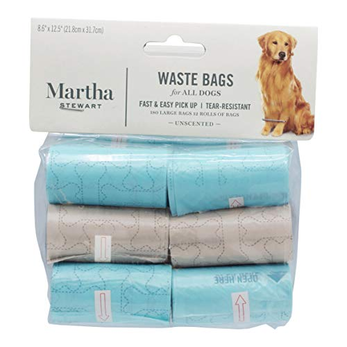 Martha Stewart Hundekotbeutel, groß, geruchlos, für eine schnelle Reinigung, extra dick und robust, für Hunde, auslaufsicher, 60/120 / 180 Stück, 180 Count