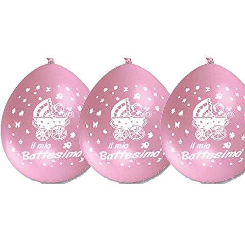 Palloncini Battesimo Rosa addobbi per feste confezione 25pz