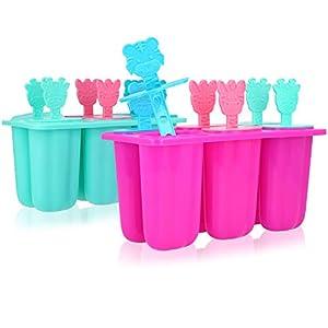 COM-FOUR® 2x Eisformer für Wassereis am Stiel - Stieleis-Form für selbstgemachtes Eis - wiederverwendbare Eisformen für 12 Portionen [Farbauswahl variiert] (12x Eisform - 80ml)