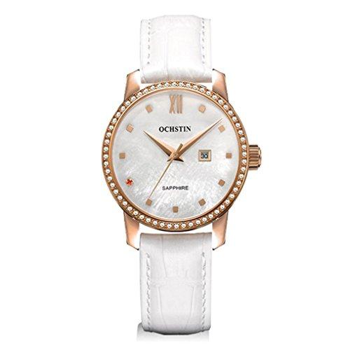 XINLEE Damenuhr Zeiger Display Diamant wasserdichtem Leder Gürtel Quarzuhr, 001 (Uhr Braun Seiko Gurt)