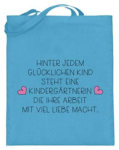 Tolles Kindergärtnerin Shirt & Erzieherin Shirt - Super Geschenkidee für den Kindergarten - Jutebeutel (mit langen Henkeln) -38cm-42cm-Hellblau -