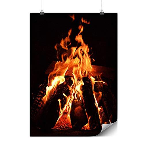 Wellcoda Kamin Feuer Natur Plakat Gemütlich A1 (84cm x 60cm) Mattes schweres Papier, Ideal für die Gestaltung, Einfach zu hängen Kunst