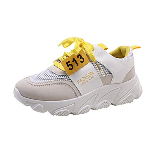 iZZB Sneakers Confortable Filles Chaussures Fitness Femme Baskets Maille Chaussures de Sports Respirant Dames 2019 (Blanc, 37 EU)