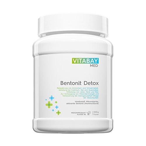 Bentonit DETOX Pulver 1000 g - Medizinprodukt - mikronisierter aktivierter Bentonit - Ultrafein - Montmorillonit Gehalt über 90% - zur Entgiftung, Schwermetall-Ausleitung, Leber-Reinigung