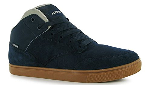 mens-lace-up-panelled-upper-mid-top-style-skate-shoes-8-42-navy