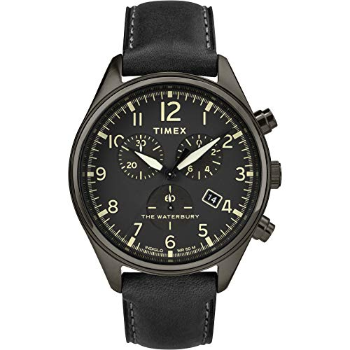 Timex Herren Chronograph Quarz Uhr mit Leder Armband TW2R88400