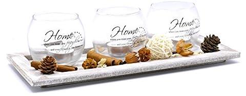 Lot de 3bougeoirs en verre plaque en bois style shabby chic Deco Boule Tartelettes parfumées en