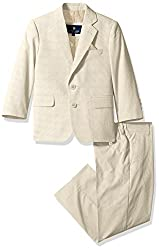 U.S. POLO ASSN. Little Boys Cotton Suit, Tan Pinfeather, 7
