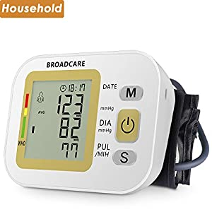 Blutdruckmessgerät Oberarm mit Manschettengröße(22-42cm) von BROADCARE, 2 x 99 Speicherplätze, eingebauter wieder aufladbarer Akku, vollautomatische Blutdruck- und Pulsmessung