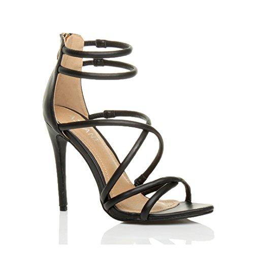 Ajvani Donna tacco alto con cinturino quasi lì partito cerniera sandali scarpe numero Nero Opacoa