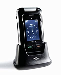 VOCA V530 Unlocked 3G Flip Phone, Dual Screen with Big Button, Predictive Text, Multi languages, SOS Button, Hearing Aid Compatible, Easy to Use Mobile Cell Phone, Senior Citizen-Friendly, Black
