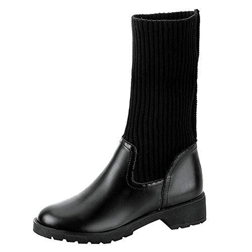 Square Kürbis Kostüm - MYMYG Damen Stiefel Frauen-Platz-Absatzschuhe Martain Boot Leather Keep Warm Round Toe Slip-On Schuhe PU Leder Square Heel Schuhe Madeline Boots Cowboy Ankle Booties
