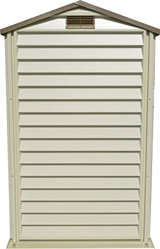 Duramax StorePro 4′ x 6′ Plastic Garden Shed with Plastic Floor & Fixed Window – Ivory & Brown – 15 Years Warranty