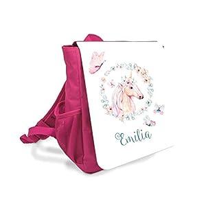 Kinder-rucksack für Mädchen mit Namen u. Einhorn