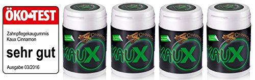 kauX Xylitol Zahnpflege-Kaugummi ohne Aspartam, 4'er Pack Cinnamon (60g=40 Stück pro Dose)