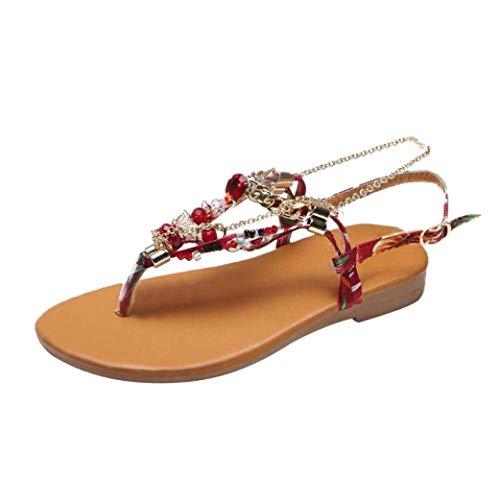 Sandalen für Damen, Hausschuhe Gladiator Wedge Tan Closed Toe Plattform Sparkly High Low Heels römische Flats Flip Flops Riemen, Stil rutschfeste böhmische Strandschuhe flache Sandalen aus Kristall