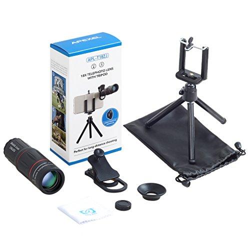 fgghfgrtgtg APEXEL APL-T18XZJ Universal-18X Teleskop Zoom Handy-Objektiv für iPhone Samsung Smartphones Clip Kameraobjektiv mit Stativ