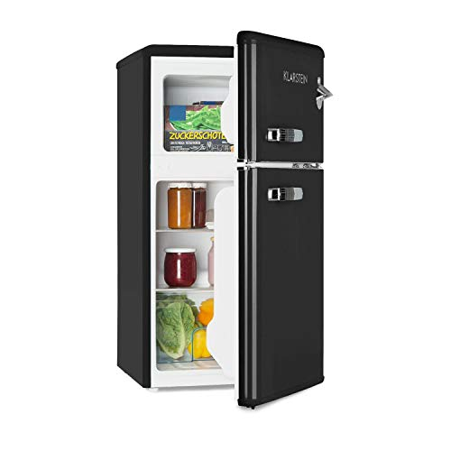 Klarstein Irene • Kühl- & Gefrierkombination • Retro Kühlschrank • 61 Liter Kühlfach • 24 Liter Gefrierfach • Energieeffizienzklasse A+ • 40 dB leise • 2 Kühlebenen • 2 Türablagen • schwarz