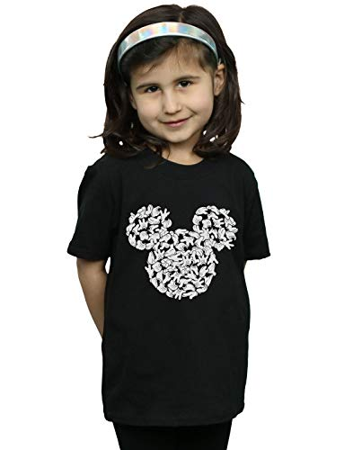 Disney Mädchen Mickey Mouse Head of Hands T-Shirt Schwarz 9-11 Years