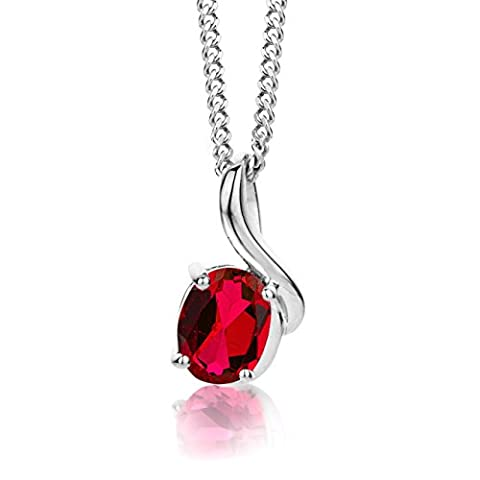 ByJoy 925 Oval Cut Ruby Sterling Silver Pendant on a Curb Chain of 45 cm