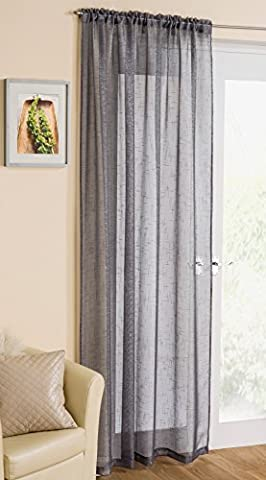 Cavendish Grey Readymade Metallic Thread Interlaced Voile Curtain Panel - Slot Top / Rod Pocket (Wire Tulle)