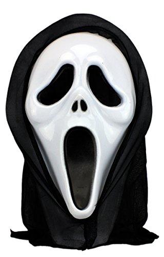 Kunststoff Clown Maske (Scream Halloween Maske Geist Maske mit Haube)