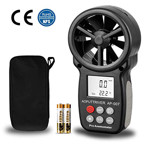 Anemómetro Termómetro Digital de Pantalla LCD Medidor de Velocidad Viento...