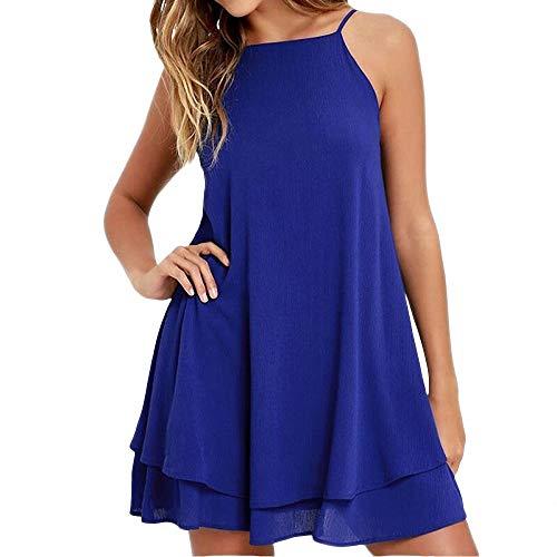 YuJian12 Frauen Sommer Backless Chiffon Kleid Sexy Isolationsschlauchbügel Mini Beiläufige Lose Kleider Mode Frauen Schwarz Rot Kleid Mädchen-in Kleider von Frauen Blau