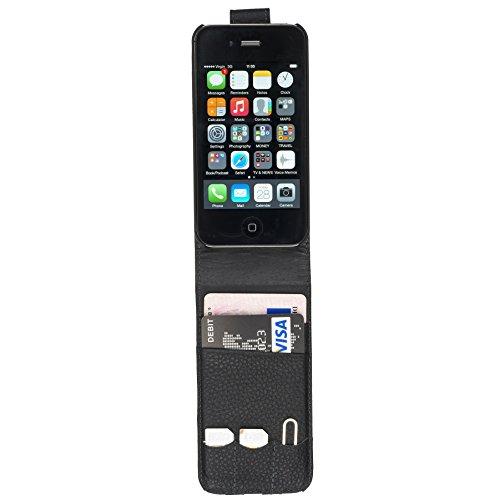 Fonerize étui à rabat et carte Étui portefeuille en cuir pour iPhone 4/4S Noir