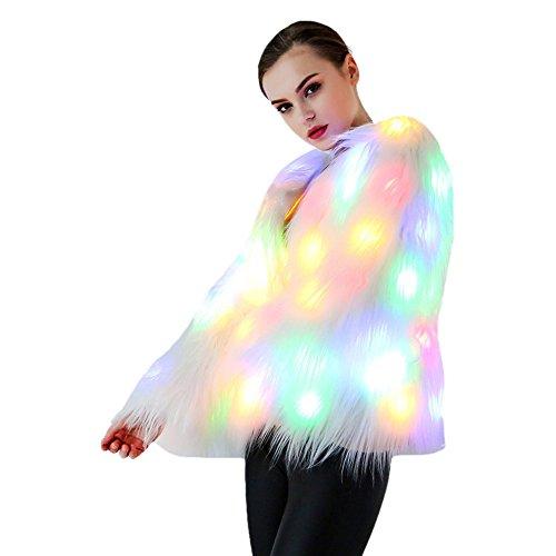ken-Outwear LED-Glühen-Jacken-Mantel-Winter-flaumiges Regenbogen-LED-Kostüm für Halloween-Weihnachtsfeier (White, XL) (Burning Man Frauen Kostüme)