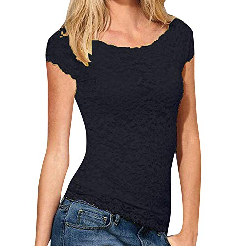 Andouy Mesh Top Womens Spitze Croceht Durchsichtige Transparente Kurzarm Größe 36-44 Sexy Ladies Party Slim Bluse Shirt(2XL(44),Schwarz) Silk Blend Hose