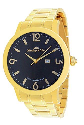 Lindberg & Sons Herren-Armbanduhr - Datumsanzeige - Quarz Schweizer Werk Analog Edelstahl - LSSM204 (Automatic Schweiz Watch)