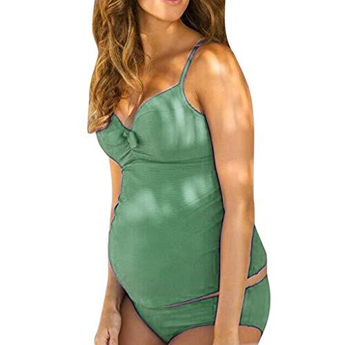 XNBZW Mutterschaft Tankinis Damen Solid Print Bikinis Badeanzug Beachwear Schwangere Anzug Anzug Attraktiver Schwangerschafts Badeanzug im individualen Look/Umstands Badeanzug(XL,Grün)