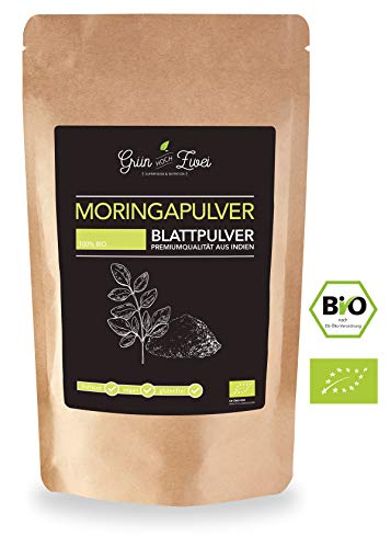 Moringa Pulver (Blattpulver, Moringapulver) Bio - 120 g von GrünHochZwei | Vitamine, Mineralstoffe, Antioxidantien | zertifizierte Rohkostqualität