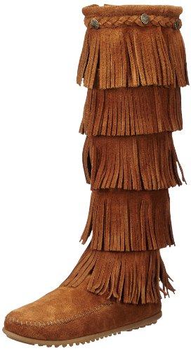 Minnetonka 5-Layer Fringe Boot, Damen Langschaft Mokassin Boots, Braun (Brown 2), 38 (Indianer Stiefel Mokassin)