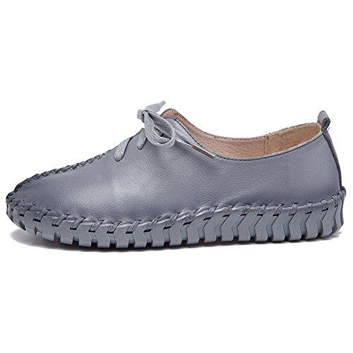 Shenn femmes Caleçon maille lacets Confort Décontractée Cuir Formateurs Chaussures Gris