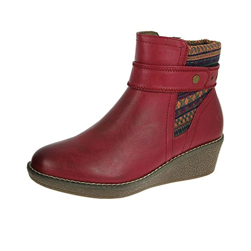 Heavenly Feet Womens Bottes Marron Rouge Rouge