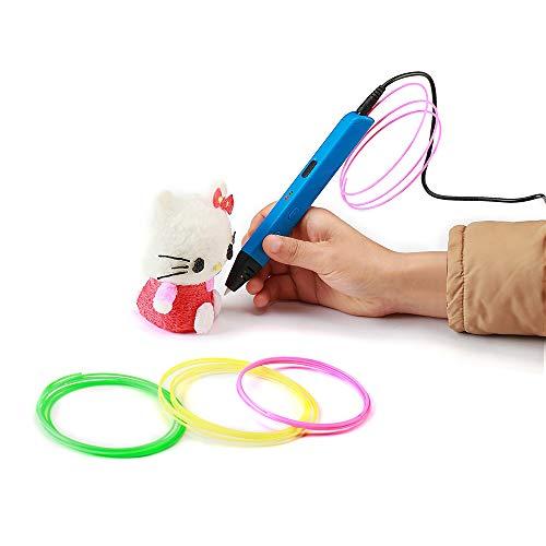 La pluma 3D de los niños, la última pluma de la impresión 3D es compatible con el filamento del PLA del ABS, pantalla portable 3D de la pluma del dibujo de la impresora LCD apoya energía móvil,Blue