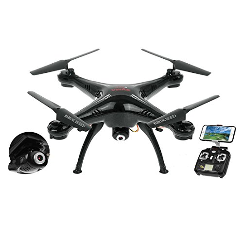 Syma X5SW Explorers2 2.4G 4CH 6-Axis Gyro RC Headless Quadcopter with Wifi Camera (FPV) Drone - Black