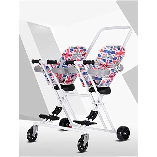 KQKLQQ Doppel Infant Trolley, Zwillingskinderwagen Leichtklappdoppelzweisitzer-Kinderwagen-Off-Road Version,